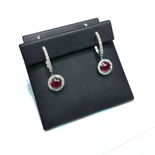 New 18K White Gold 2.47ct RED RUBY & 0.61 TCW DIAMONDS Earrings 6g