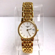 LONGINES Date Quartz 18K Gold-Plated & Stainless Steel Ladies Watch