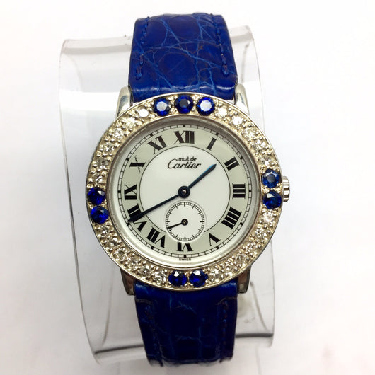 CARTIER Quartz Argent Ladies Watch w/ DIAMONDS & Blue SAPPHIRES New Band