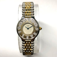 CARTIER MUST 21 28mm 18K Gold-Plated & Steel Ladies Watch 0.41TCW Diamonds