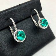 New 18K White Gold 3.58TCW Round Green EMERALD F-G VS 0.36TCW Of 66 Natural DIAMONDS Earrings 5.1g