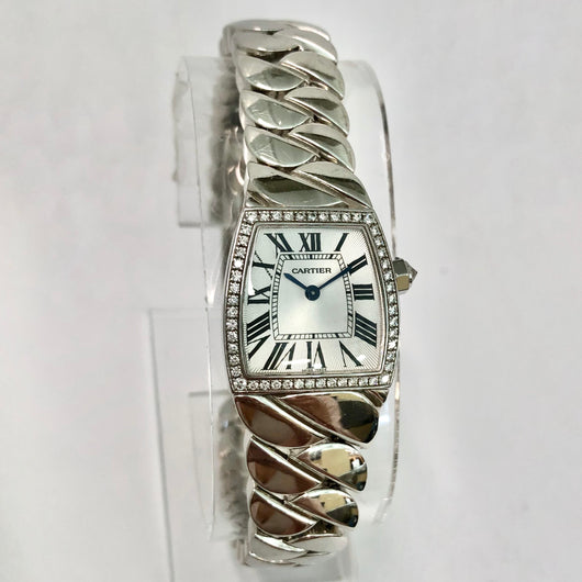 CARTIER LA DONNA 18K White Gold Factory Diamond Bezel Ladies Watch