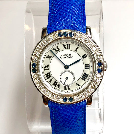 CARTIER Quartz Argent Ladies Watch 1.01TCW F-G VS-SI DIAMONDS & Blue SAPPHIRES