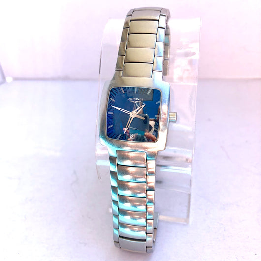 LONGINES Date Quartz Stainless Steel Ladies Watch Blue Dial