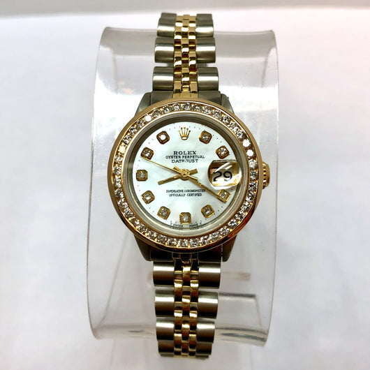 ROLEX OYSTER PERPETUAL DATEJUST 14K Gold & Steel Ladies Watch 0.80TCW DIAMONDS