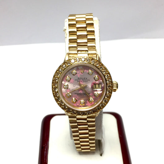 ROLEX OYSTER PERPETUAL DATEJUST 18K YG Ladies Watch Diamond Bezel Flower Dial