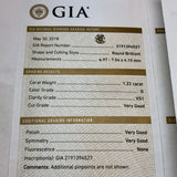 GIA CERTIFIED Natural Round Brilliant DIAMOND 1.22 Carat G VS1