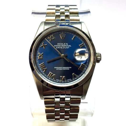 ROLEX OYSTER PERPETUAL DATEJUST Steel Men's/Unisex Watch Blue Dial
