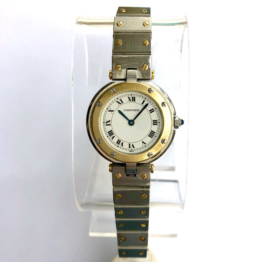 CARTIER SANTOS 18K Yellow Gold & Stainless Steel Ladies Watch