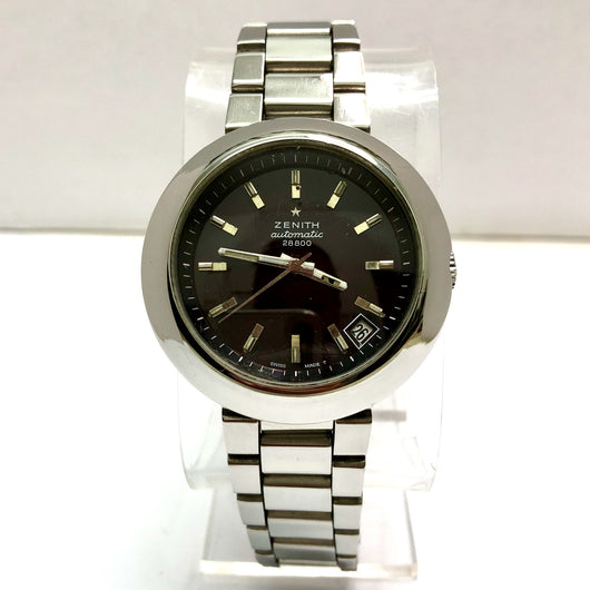 ZENITH Automatic 28800 Date Stainless Steel Men's Watch Black Spider Dial
