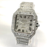 CARTIER SANTOS 100 Automatic Steel Mens Watch 22TCW DIAMONDS Extra Band