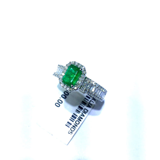 New 14K White Gold 1ct EMERALD & 1TCW F-G VS Natural DIAMONDS Ladies Ring 4g