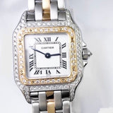 CARTIER PANTHERE 22mm Quartz 28K Gold & Steel DIAMOND Watch