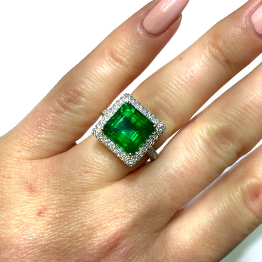 New Platinum 4.77ct EMERALD & 1TCW F-G VS Natural DIAMONDS Ladies Ring 10.2g