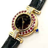 CARTIER COLISÈE Quartz GoldPlated Ladies Watch DIAMONDS & RED RUBIES