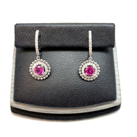 New 18K White Gold 1 TCW PINK SAPPHIRE & 0.42 TCW Natural DIAMONDS Earrings 4g
