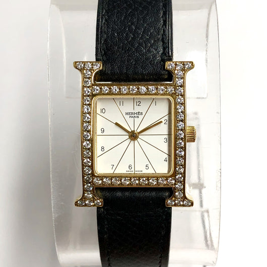 HERMÈS HEURE H Two Tone Ladies Watch 0.92TCW DIAMONDS Hermès Black Leather Band