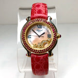 CHOPARD HAPPY SPORT 18K Gold & Steel Ladies Watch Floating DIAMONDS & Red RUBIES