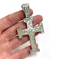 One Of The Kind! New Extra Large 14K White Gold 14 TCW DIAMONDS CROSS PENDANT 40.1g
