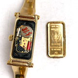 GUCCI 18K Yellow Gold-Plated Bracelet Ladies Watch Black Dial Swiss Made