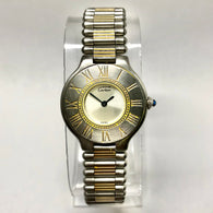 CARTIER Must 21 Quartz 28mm 18K Yellow Gold & Steel Ladies Watch