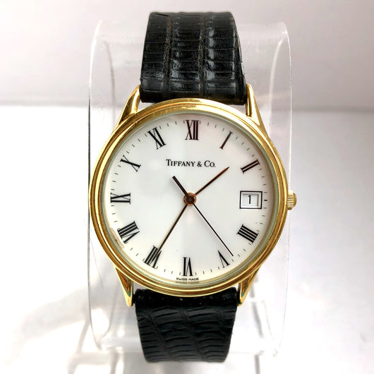 TIFFANY & CO. Date Gold-Plated & Steel Men's/Unisex Watch Black Lizard Band