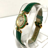 CARTIER COLISÉE 24mm 18K GOLD Ladies Watch .36TCW DIAMONDS & ~.60TCW Emeralds