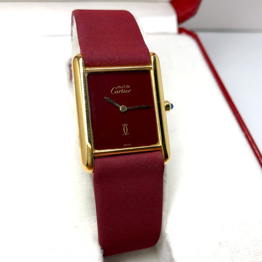 CARTIER TANK Quartz 18K Gold Electroplated Ladies Watch