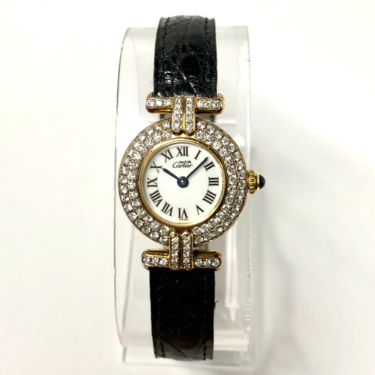 MUST DE CARTIER VERMEIL COLISÈE Quartz GoldPlated Argent Ladies Watch 1.21TCW DIAMONDS
