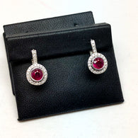 Platinum 2.25TCW RED RUBY & 1.05TCW F-G VS 103 Natural DIAMONDS Earrings 6.8g Weight