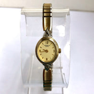 CARAVELLE By BULOVA Gold Plated Steel Ladies Watch with FACTORY DIAMONDS and Speidel Bracelet