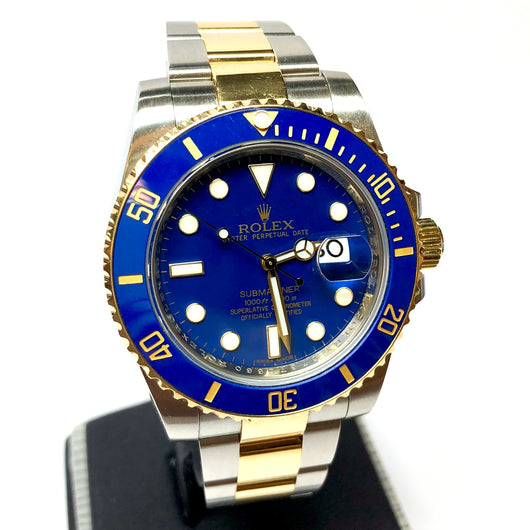 ROLEX OYSTER PERPETUAL DATE SUBMARINER 18K Gold & Steel Men's Watch Blue Dial