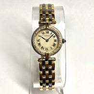 CARTIER PANTHERE VENDOME 23mm Quartz 3 Row Gold & Steel Ladies Watch Diamond Bezel