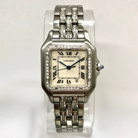 CARTIER PANTHÉRE 27mm Steel Ladies Watch Diamond Bezel & Bracelet 0.71TCW