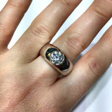 New 14K White Gold 1.43TCW F-G VS Natural DIAMONDS Men's Ring 8.9g