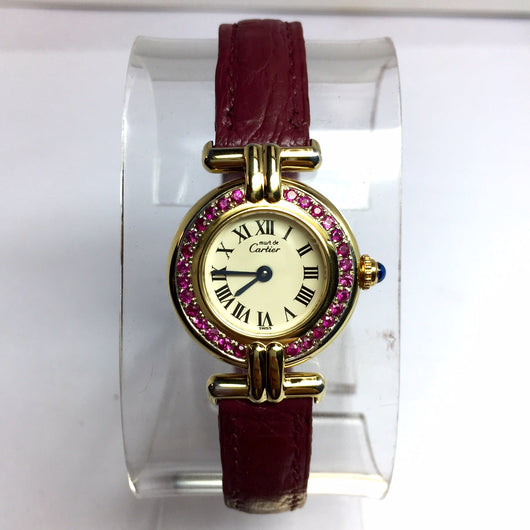Must De CARTIER VERMEIL COLISÈE Quartz Electroplated Ladies Watch Pink SAPPHIRES