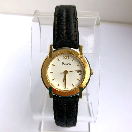 BULOVA Date Quartz Gold-Plated & Stainless Steel Ladies Watch Water Resistant