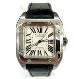 Extra Large 38.5mm CARTIER SANTOS 100 Automatic Steel Men's Watch New Black Band
