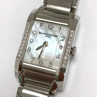 BAUME & MERCIER HAMPTON Date Quartz Steel Ladies Watch FACTORY DIAMONDS