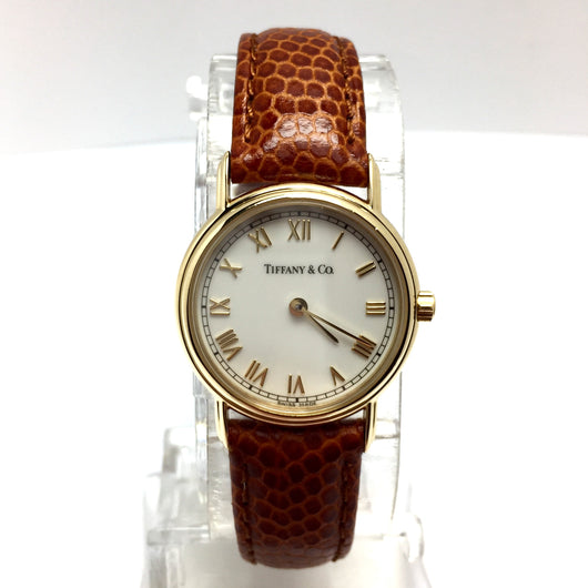 TIFFANY & CO. 18K Yellow Gold Ladies Watch with DIAMONDS and New Brown Band