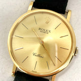 ROLEX CELLINI 18K Yellow Gold Men's/Unisex Watch Black ROLEX Leather Band