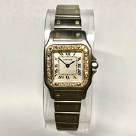 CARTIER SANTOS GALBEE 24mm Quartz 2 Tone Ladies Watch Diamond Bezel