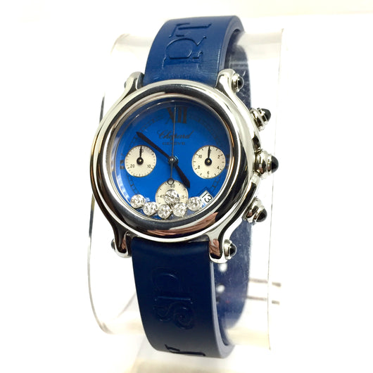 CHOPARD HAPPY SPORT 32mm Chronograph Steel Unisex Watch w/ 6 Floating Factory Diamonds & Original Blue Rubber Band
