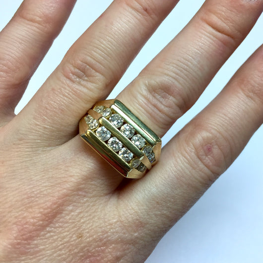 New 14K Yellow Gold 1TCW F-G VS Round Cut Natural DIAMONDS Men's Ring 12g