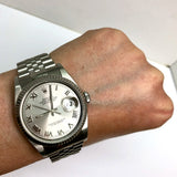 ROLEX OYSTER PERPETUAL DATEJUST Stainless Steel Men's/Unisex Watch Silver Dial