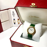 Must De CARTIER RONDE Gold Plated Argent Ladies Watch Green Cartier Band