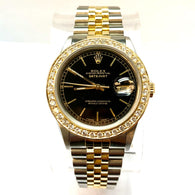 ROLEX DATEJUST 18K Yellow Gold & Steel Men's/Unisex Watch DIAMOND Bezel