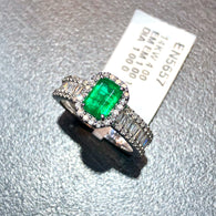 New 14K White Gold 1ct EMERALD & 1TCW DIAMONDS Ladies Ring 4g Resizable