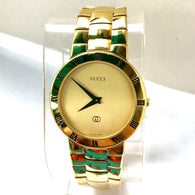GUCCI 18K Yellow Gold-Plated Bracelet Men's/Unisex Watch Swiss Made