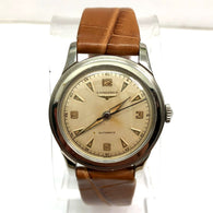 LONGINES Automatic Stainless Steel Men's Watch New Light Brown Crocodile Band